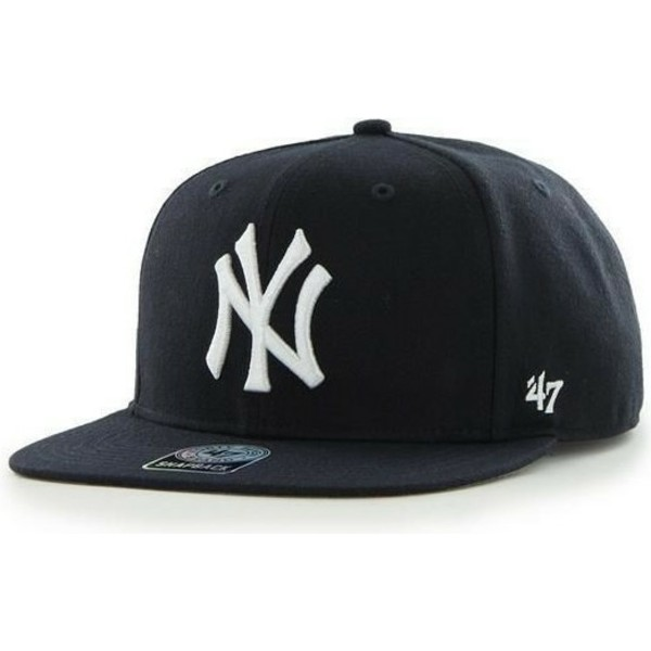 47-brand-flat-brim-side-logo-mlb-new-york-yankees-smooth-navy-blue-snapback-cap