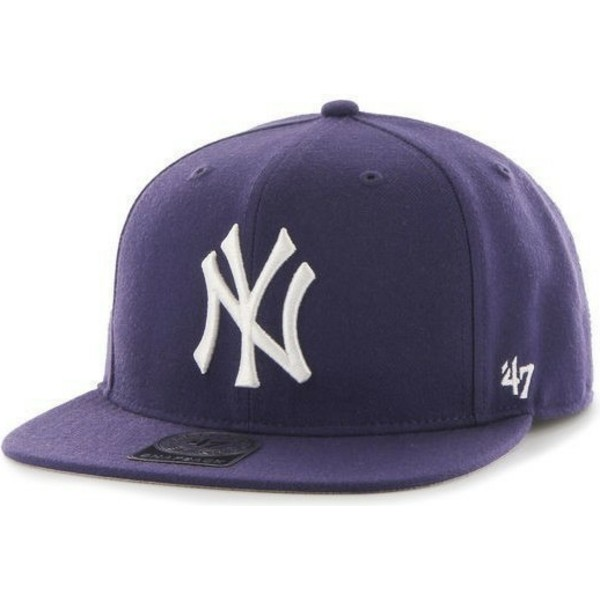 47-brand-flat-brim-side-logo-mlb-new-york-yankees-smooth-purple-snapback-cap