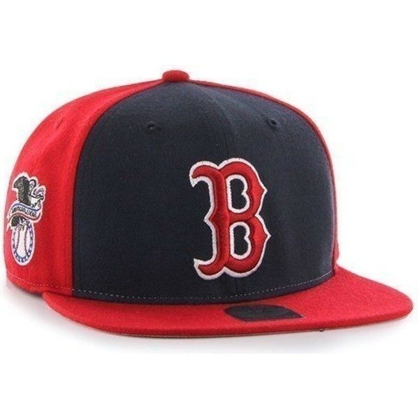 47-brand-flat-brim-side-logo-mlb-boston-red-sox-smooth-red-snapback-cap