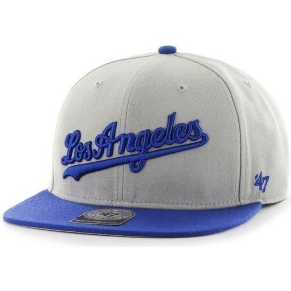 47-brand-flat-brim-side-logo-mlb-los-angeles-dodgers-grey-snapback-cap