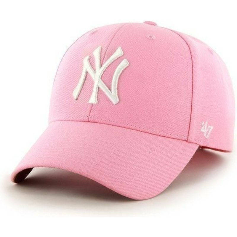 47-brand-curved-brim-mlb-new-york-yankees-smooth-pink-cap