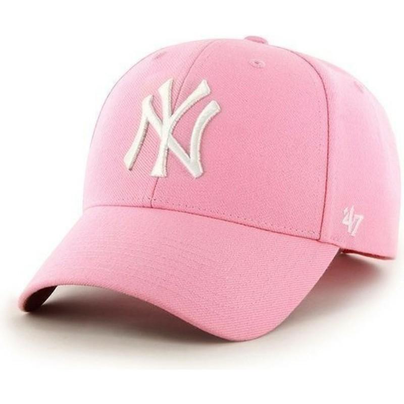 47 Brand Curved Brim MLB New York Yankees Smooth Pink Cap