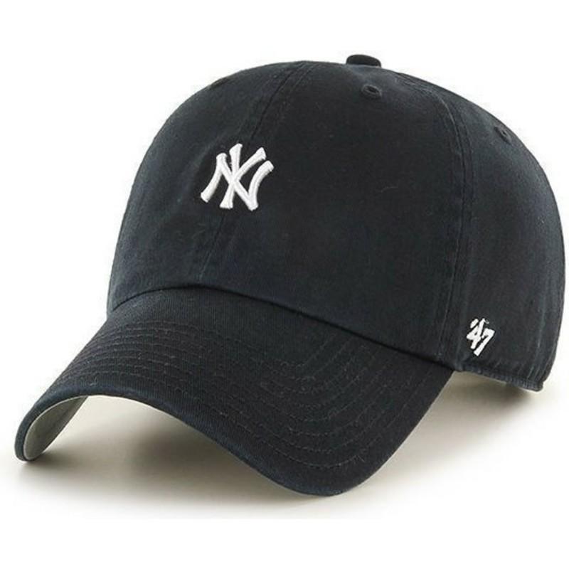 47 Brand Curved Brim Small Logo MLB New York Yankees Black Cap  Shop ... c6cfbf7a1b1