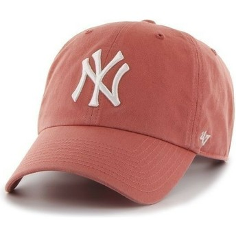 47 Brand Curved Brim Large Front Logo MLB New York Yankees Red Cap