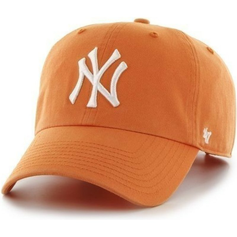 e59c1365e72 47 Brand Curved Brim Large Front Logo MLB New York Yankees Orange ...