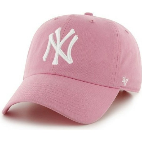 6cb0354c8c3 47 Brand Curved Brim Large Front Logo MLB New York Yankees Pink Cap ...