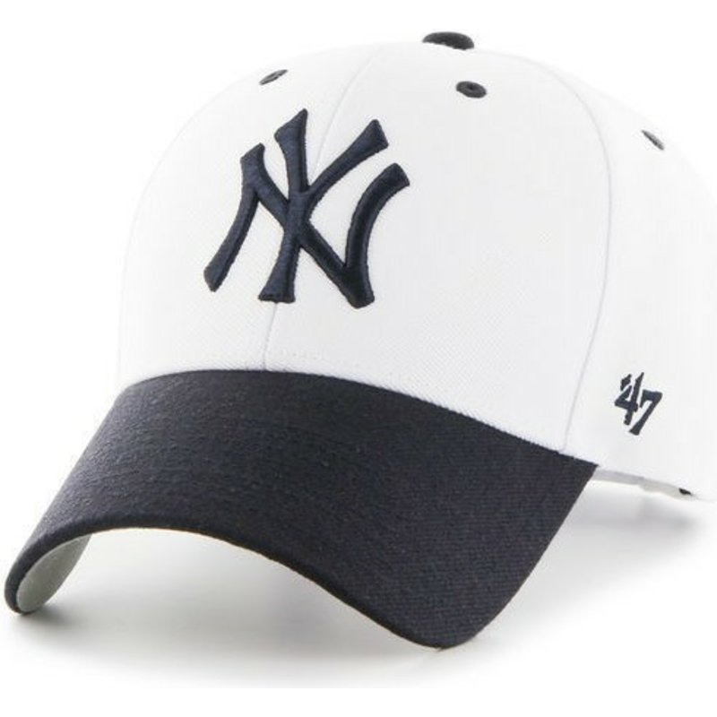 2834e6ec209 47 Brand Curved Brim New York Yankees MLB White Cap with Black Visor ...