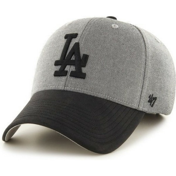 47-brand-curved-brim-black-logo-los-angeles-dodgers-mlb-grey-cap-with-black-visor