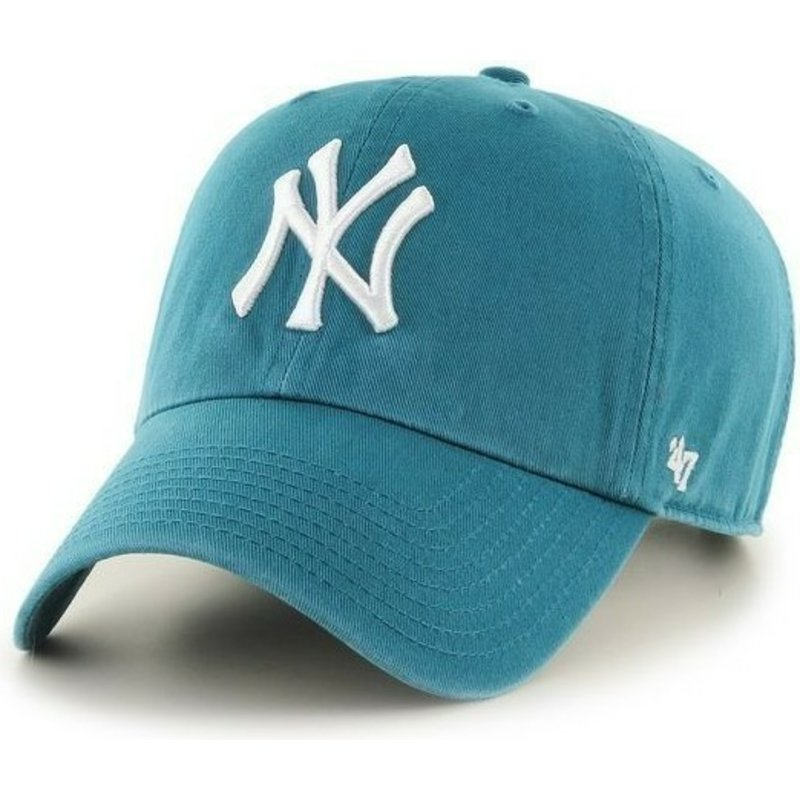 47-brand-curved-brim-bluish-green-new-york-yankees-mlb-clean-up-green-cap