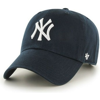 47 Brand Curved Brim New York Yankees MLB Clean Up Navy Blue Cap