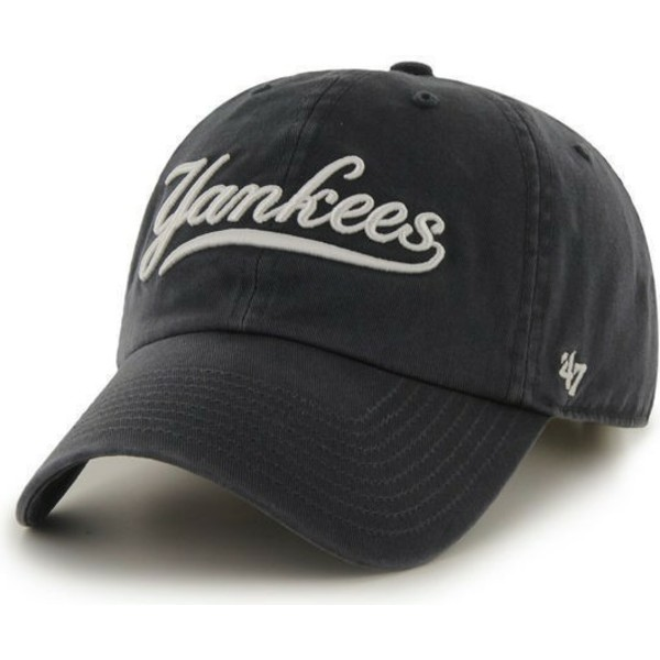 47-brand-curved-brim-script-logo-new-york-yankees-mlb-clean-up-navy-blue-cap