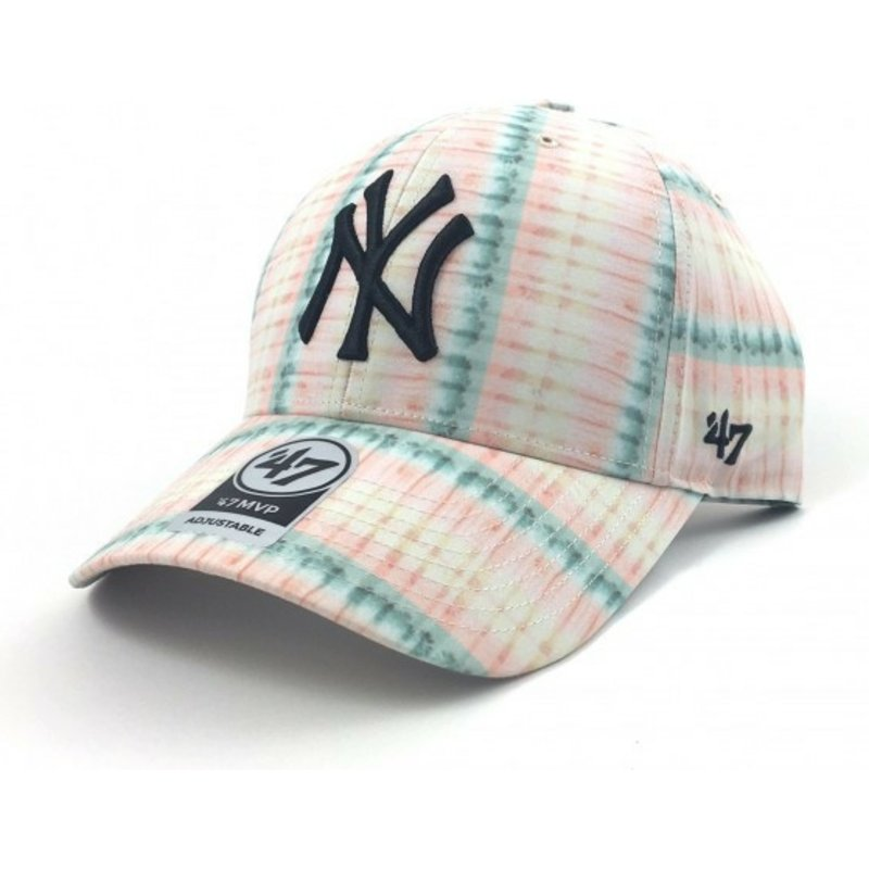 47-brand-curved-brim-flower-print-new-york-yankees-mlb-pink-cap