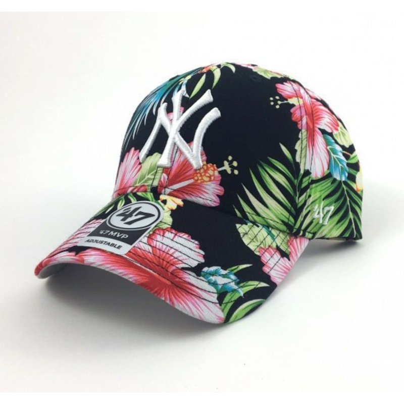 b87728c83831b 47 Brand Curved Brim Flower Print New York Yankees MLB Multicolor ...