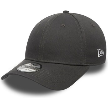 New Era Curved Brim Dark Grey 39THIRTY Basic Flag Grey Fitted Cap
