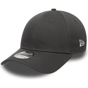 New Era Curved Brim Dark Grey 39THIRTY Basic Flag Grey Fitted Cap