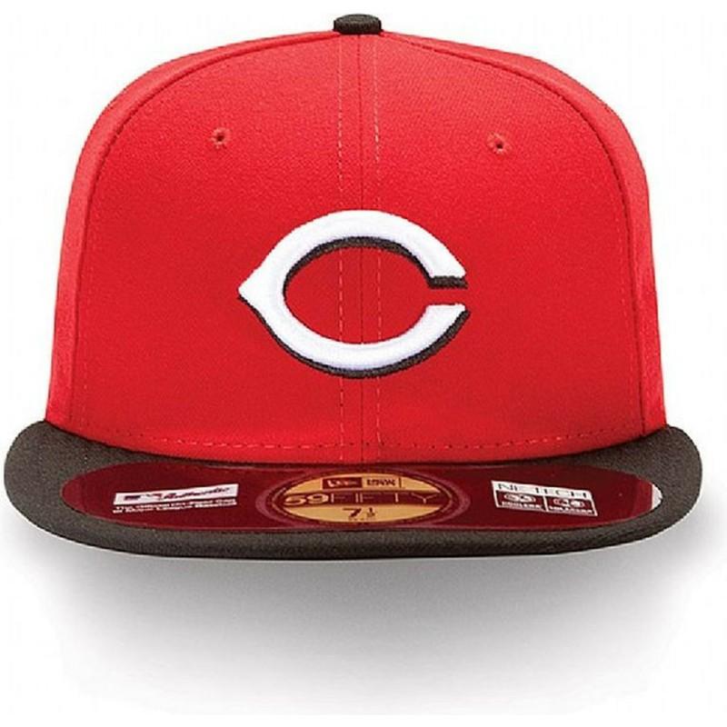 77629225f07 New Era Flat Brim 59FIFTY Authentic On-Field Cincinnati Reds MLB Red ...