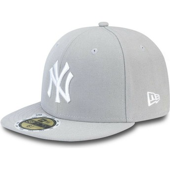 New Era Flat Brim Youth 59 FIFTY Essential New York Yankees MLB Grey Fitted Cap