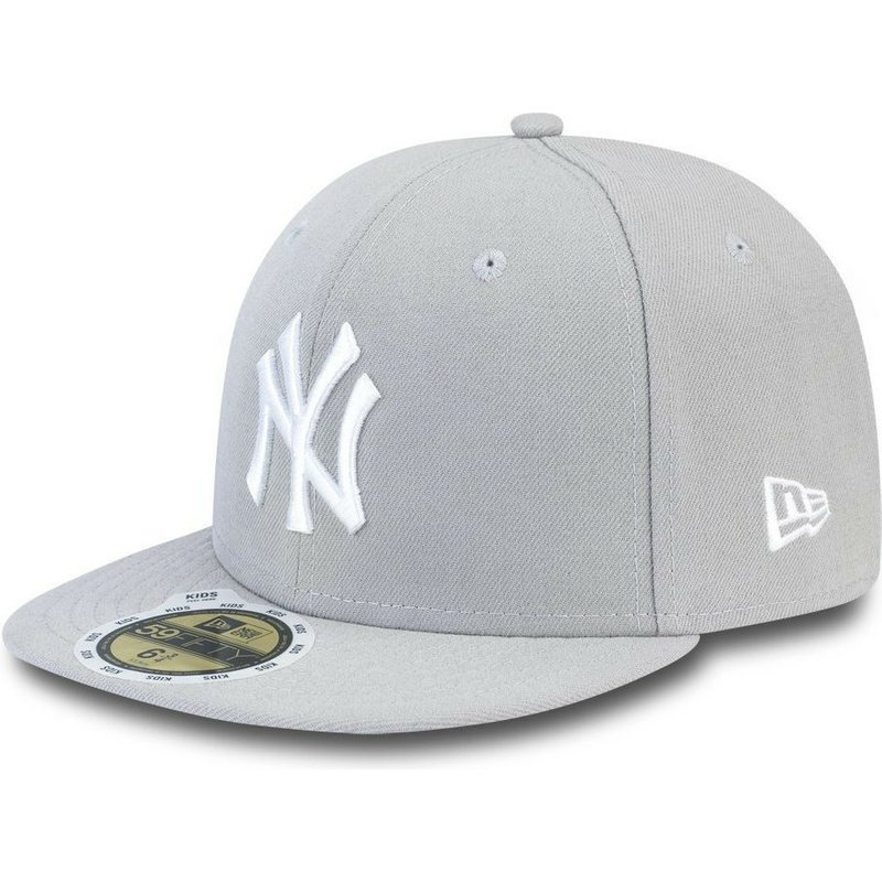 0021f0f38e13 Caphunters - New Era Flat Brim Youth 59FIFTY Essential New York Yankees MLB  Grey Fitted Cap: Shop Online at Caphunters