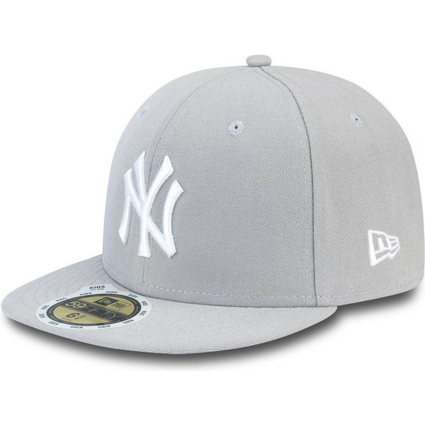 new-era-flat-brim-youth-59fifty-essential-new-york-yankees-mlb-grey-fitted-cap
