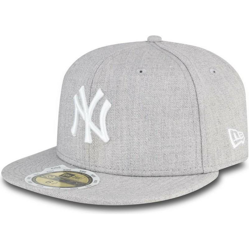 New Era Flat Brim Youth 59FIFTY Essential New York Yankees MLB Grey ... c6fb8491ce2