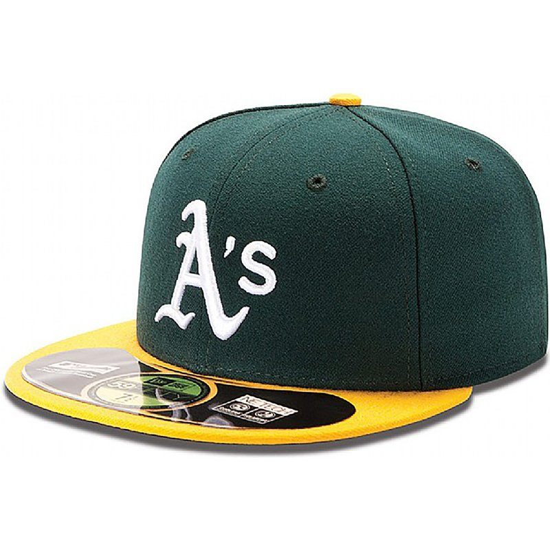 new-era-flat-brim-59fifty-authentic-on-field-oakland-athletics-mlb-green-fitted-cap