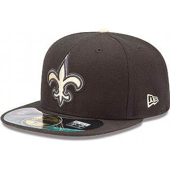 New Era Flat Brim 59FIFTY Authentic On-Field Game New Orleans Saints NFL Black Fitted Cap