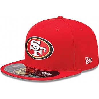 New Era Flat Brim 59FIFTY Authentic On-Field Game San Francisco 49ers NFL Red Fitted Cap