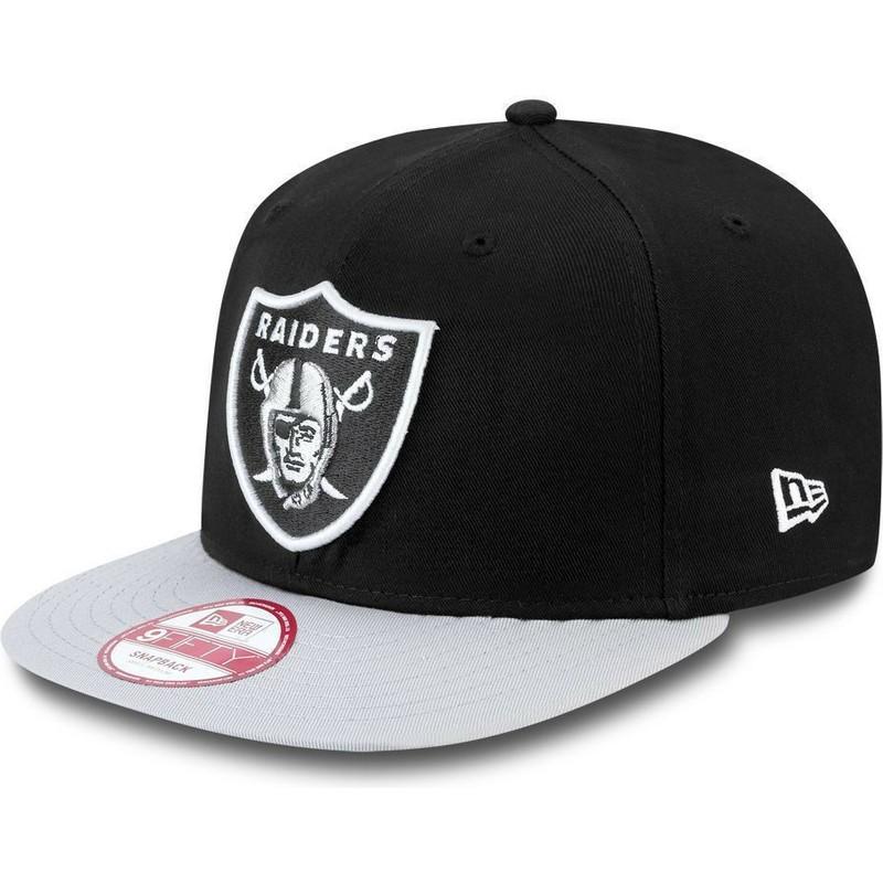 New Era Flat Brim 9FIFTY Cotton Block Oakland Raiders NFL Grey Snapback Cap   Shop Online at Caphunters 82dcda6ad6f