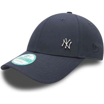 Gorra curva azul marino ajustable 9FORTY Flawless Logo de New York Yankees MLB de New Era