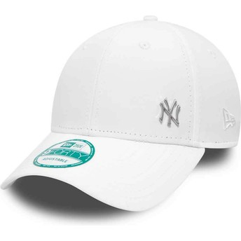 New Era Curved Brim 9FORTY Flawless Logo New York Yankees MLB White Adjustable Cap