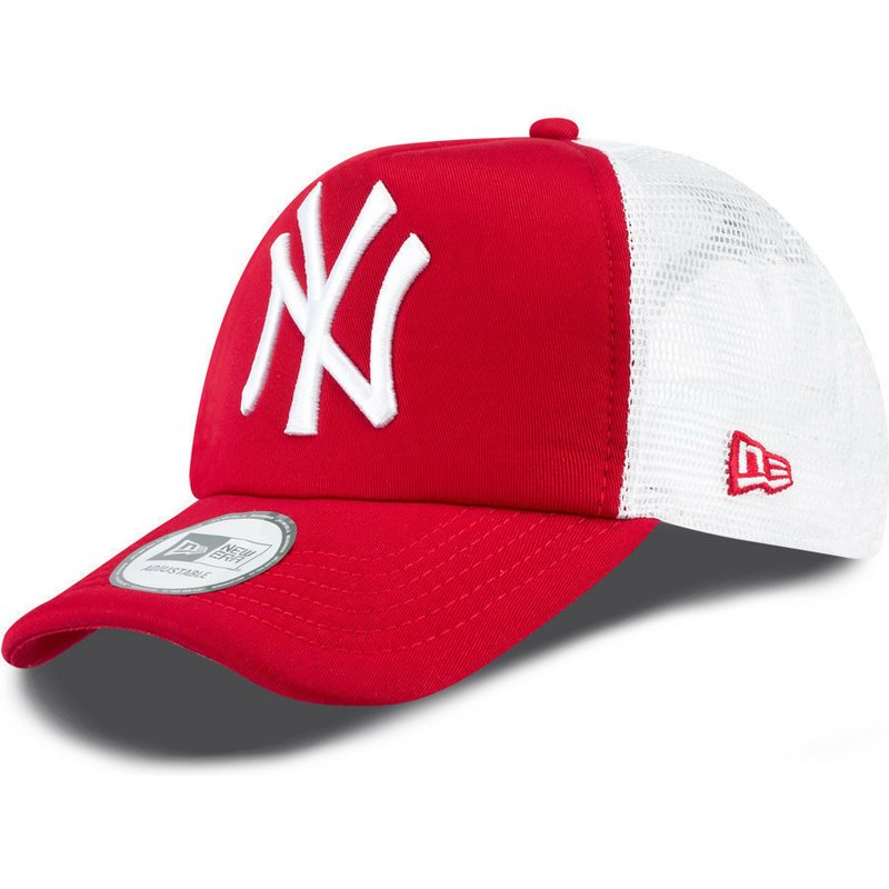 77ce7924 New Era Clean A Frame New York Yankees MLB Red Trucker Hat
