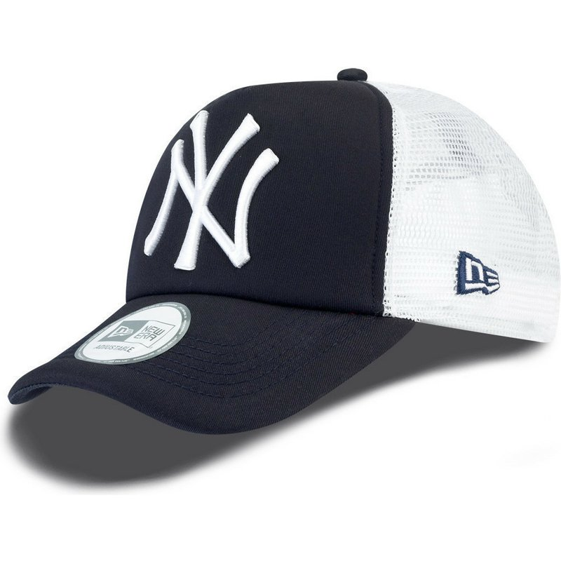 e08d3cc0ce9b04 New Era Clean A Frame New York Yankees MLB Navy Blue Trucker Hat ...