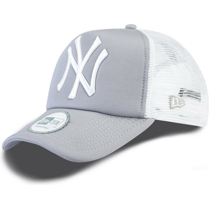 dc683356623ba5 New Era Clean A Frame New York Yankees MLB Grey Trucker Hat: Shop ...