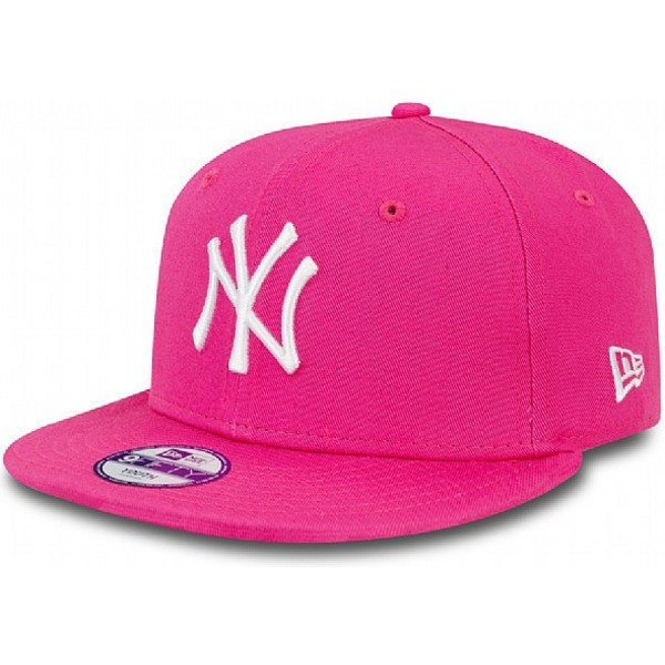 new-era-flat-brim-youth-9fifty-essential-new-york-yankees-mlb-pink-snapback-cap