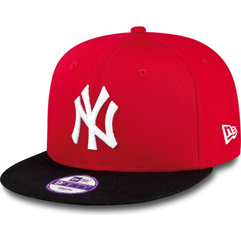 New Era Flat Brim Youth 9FIFTY Cotton Block New York Yankees MLB Red ... f46475f09ac