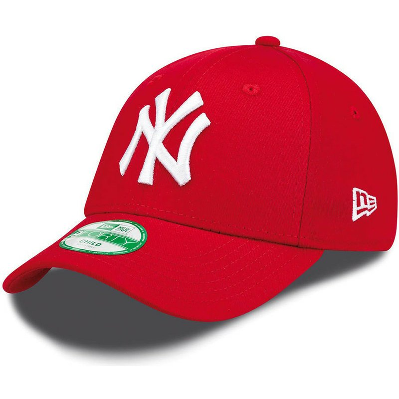 New Era Curved Brim Youth 9FORTY Essential New York Yankees MLB Red ... 4fe95b089ef