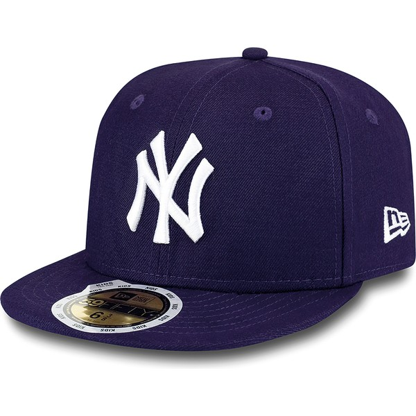 new-era-flat-brim-youth-59fifty-essential-new-york-yankees-mlb-purple-fitted-cap